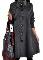 Grey-Button-Closure-Long-Sleeve-Swing-Coat
