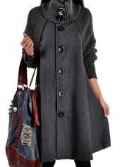 Grey Button Closure Long Sleeve Swing Coat