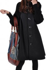 Button Closure Long Sleeve Black Swing Coat