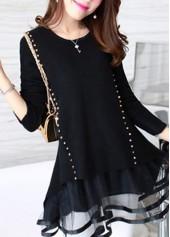 Rivet Decorated Long Sleeve Mesh Panel Black Sweater