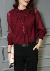 Long Sleeve Wine Red High Neck Blouse
