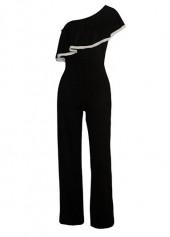 Skew Neck Black Flounce Design Jumpsuit