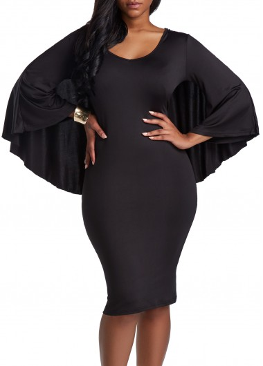 Long Sleeve Cutout Back Black Cloak Dress