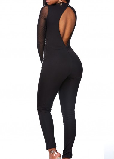 Open Back Long Sleeve Studded Jumpsuit