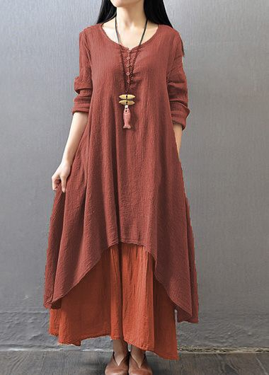 Button Design Faux Two Piece DressCasual Dresses<br><br><br>color: Wine Red<br>size: M,L,XL,XXL,XXXL,4XL,S