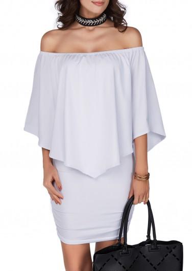 White Off the Shoulder Mini DressCasual Dresses<br><br><br>color: White<br>size: S,M,L,XL,XXL,XXXL
