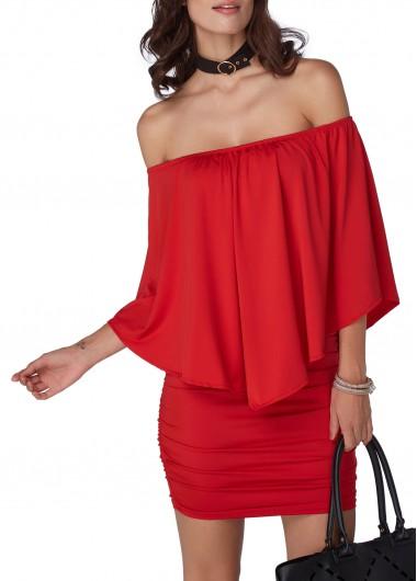 Off the Shoulder Red Mini Dress