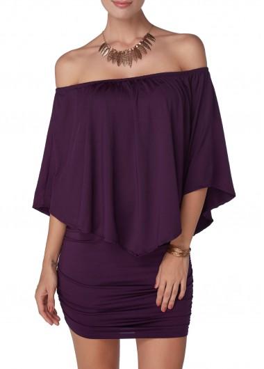 Off the Shoulder Purple Mini Dress