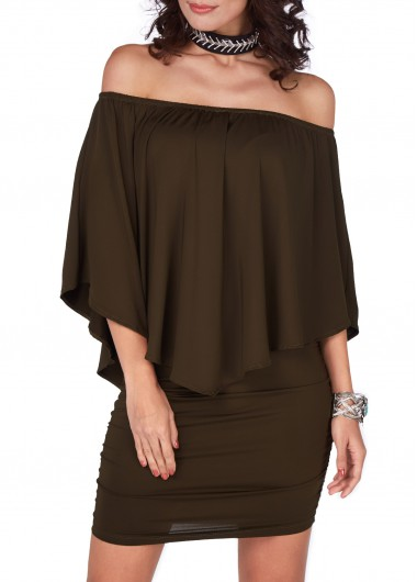 Army Green Off the Shoulder Mini DressCasual Dresses<br><br><br>color: Army Green<br>size: S,M,L,XL,XXL,XXXL
