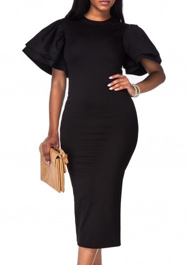 Round Neck Black Petal Sleeve Pencil Dress