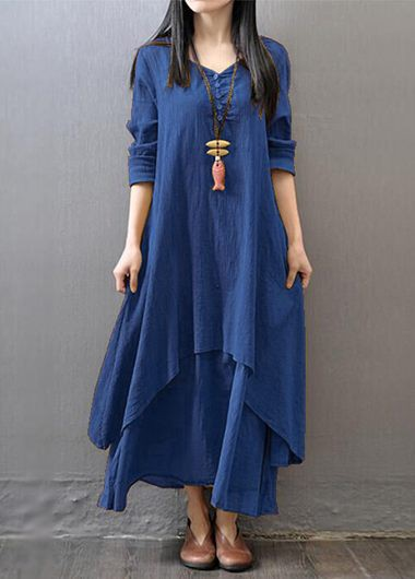 Button Decorated Navy Blue Straight Maxi Dress