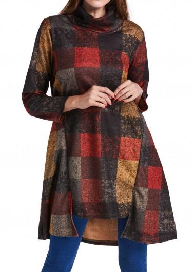 Long Sleeve Plaid Print Asymmetric Hem Turtleneck DressCasual Dresses<br><br><br>color: Grey<br>size: M,L,XL