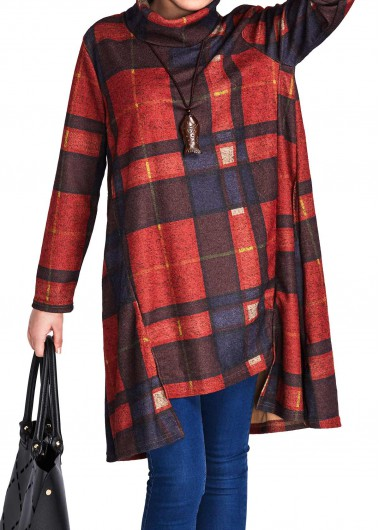 Asymmetric Hem Long Sleeve Turtleneck Plaid Red DressCasual Dresses<br><br><br>color: Red<br>size: XL,XXL