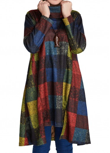 Plaid Print Asymmetric Hem Long Sleeve Straight Dress