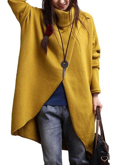 Yellow Turtleneck Asymmetric Hem Long Sleeve SweaterSweaters &amp; Cardigans<br><br><br>color: Yellow<br>size: S,M,L,XL,XXL,XXXL,4XL