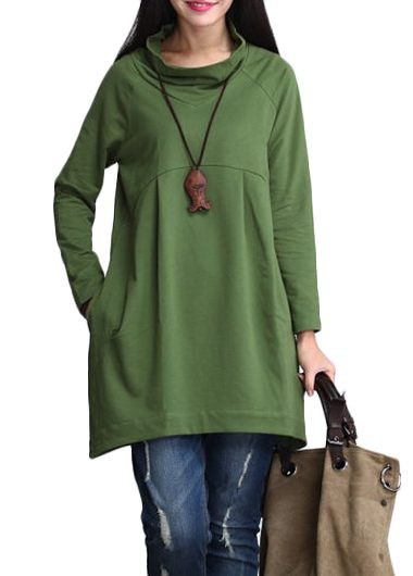 Green Cowl Neck Long Sleeve T Shirt