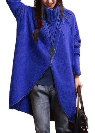 Turtleneck Asymmetric Hem Royal Blue Long Sleeve SweaterSweaters &amp; Cardigans<br><br><br>color: Blue<br>size: M,L,XL,XXL