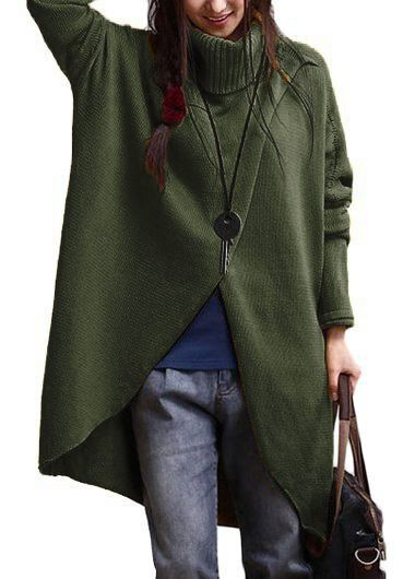 Asymmetric Hem Turtleneck Long Sleeve Army Green SweaterSweaters &amp; Cardigans<br><br><br>color: Army green<br>size: S,M,L,XL,XXL