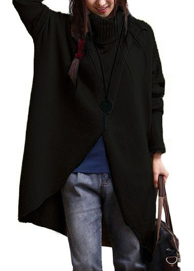Batwing Sleeve Turtleneck Black Asymmetric Sweater