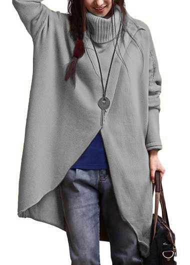 Turtleneck Asymmetric Hem Long Sleeve Grey SweaterSweaters &amp; Cardigans<br><br><br>color: Grey<br>size: M,L,XL,XXL,4XL