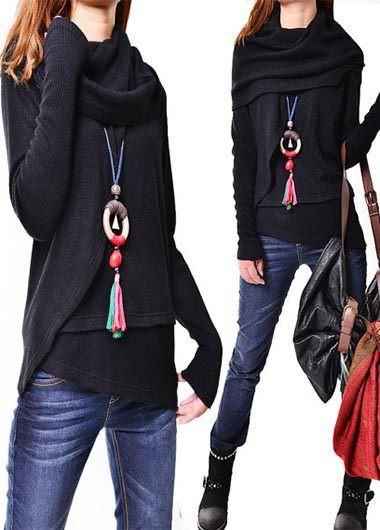 Asymmetric Hem Cowl Neck Long Sleeve Black Sweater