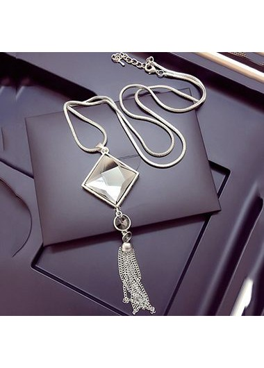 Tassel Design Square Shape Rhinestone Decorated NecklaceNecklaces &amp; Pendants<br><br><br>color: Silver<br>size: 51-80cm