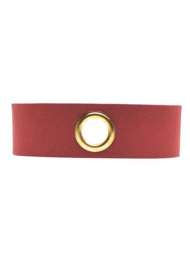 Wine Red Faux Suede Eyelet Design Choker Necklace