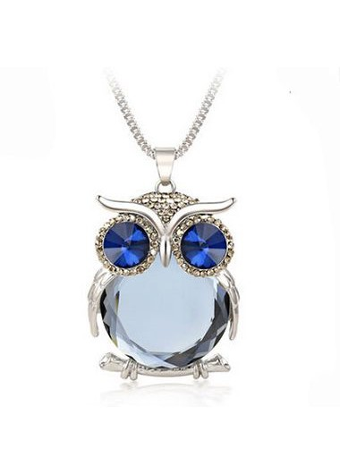 Rhinestone Decorated Owl Pendant Necklace for WomanNecklaces &amp; Pendants<br><br><br>color: Grey<br>size: One Size
