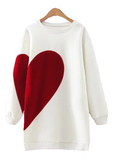 Long Sleeve Round Neck Heart Print White Sweatshirt