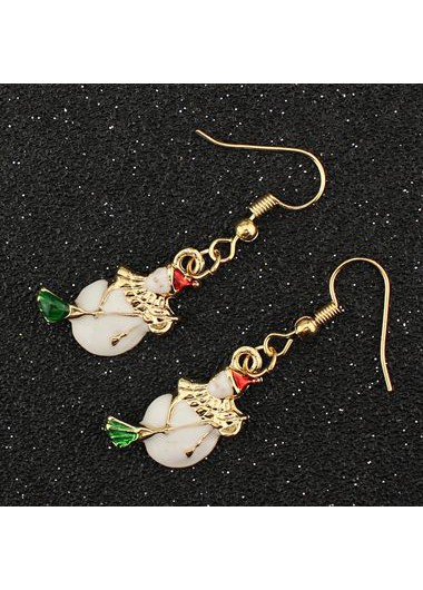 Gold Metal Christmas Snowman Pattern Earrings for Woman