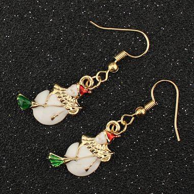 Gold Metal Christmas Snowman Pattern Earrings for Woman