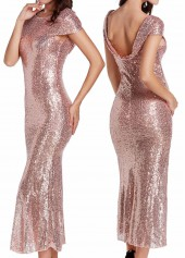 Cap Sleeve Sequin Embellished Maxi Dress