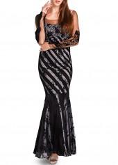 Deep V Back Mesh Design Black Mermaid Dress