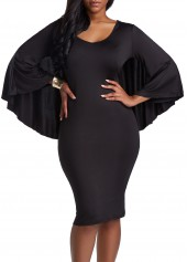 Long Sleeve Cutout Back Black Cloak Dress