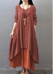 Button Design Faux Two Piece Dress