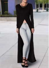 Black High Slit Long Sleeve Maxi Blouse