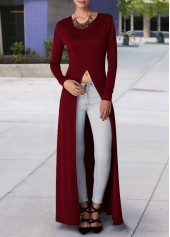 Wine Red High Slit Long Sleeve Blouse