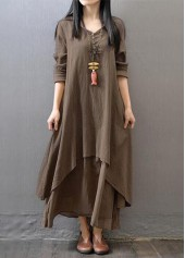 V Neck Long Sleeve Tiered Maxi Dress