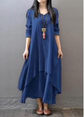 wholesale Button Decorated Navy Blue Straight Maxi Dress