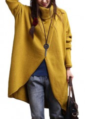 Yellow Turtleneck Asymmetric Hem Long Sleeve Sweater