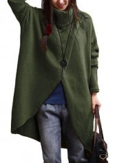 Asymmetric Hem Turtleneck Long Sleeve Army Green Sweater