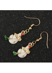 wholesale Gold Metal Christmas Snowman Pattern Earrings for Woman