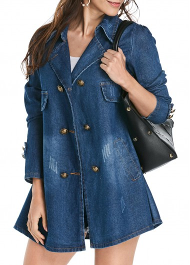 Double Breasted Turndown Collar Denim Coat