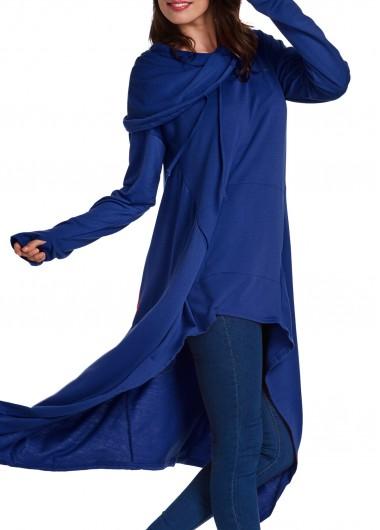 Long Sleeve Navy Blue Drawstring Hoodie