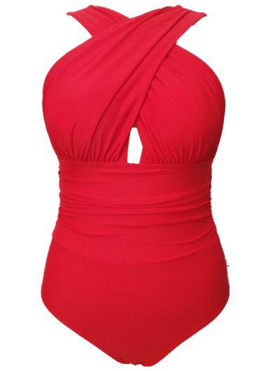 Open Back Criss Cross Front One Piece SwimwearSwimwear<br><br><br>color: Red<br>size: S,M,L,XL,XXL,XXXL,4XL