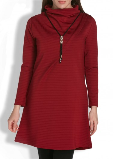 Long Sleeve High Neck Solid Burgundy Pocket Dress