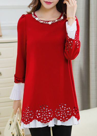 Metal Chain Embellished Red Puff Sleeve Blouse