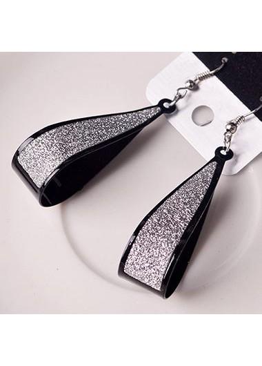 Water Drop Pattern Matting Black Earrings