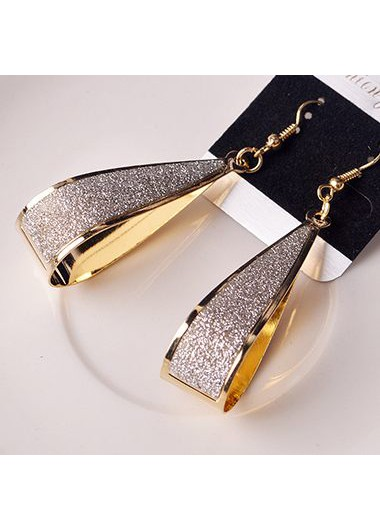 Water Drop Shape Matting Gold Earrings