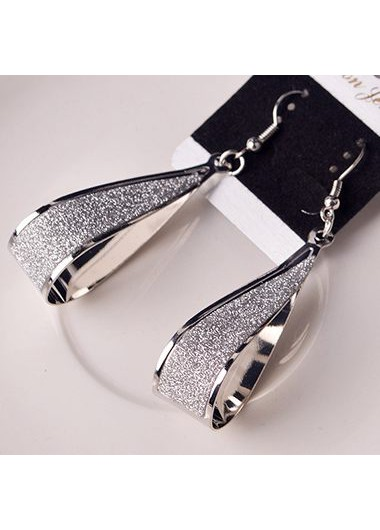 Water Drop Style Matting Silver Earrings